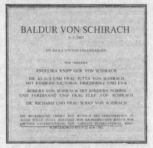 Schirach_overlijdensadvertentie