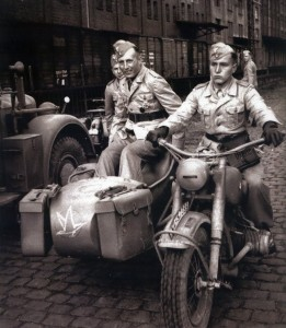 Major von der Heydte in a sidecar. Note the Lehr Bataillon tactical symbol