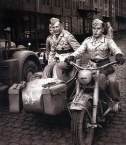 Major von der Heydte in a sidecar. Note the Lehr Bataillon tactical symbol