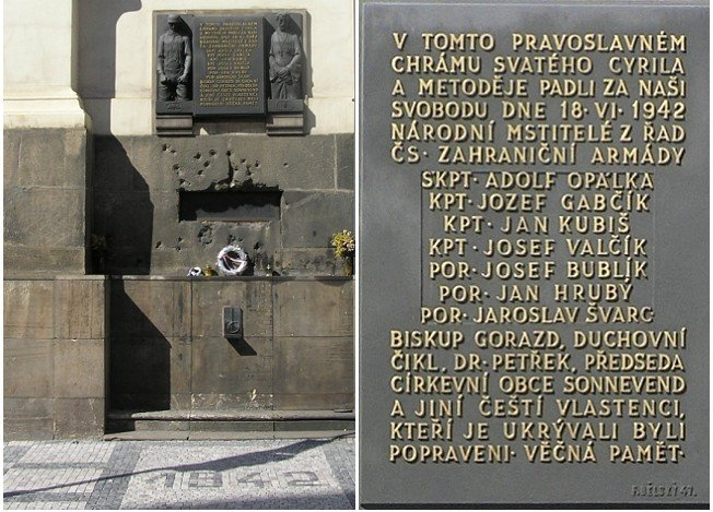 Memorial at crypt where the Czech parachutists were trapped under fire and were flooded with fire hoses before they commited suiside.