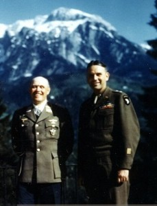 German Field Marshal Albert Kesselring (1881 - 1960) (center) who motored into Berchtesgarden and surrendered to Major General Maxwell D. Taylor smiling